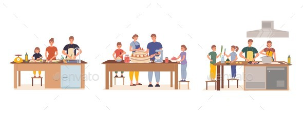 Happy Family Having Children Cooking Together Set