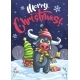 Merry Christmas Funny Cartoon Bull in the Night - GraphicRiver Item for Sale