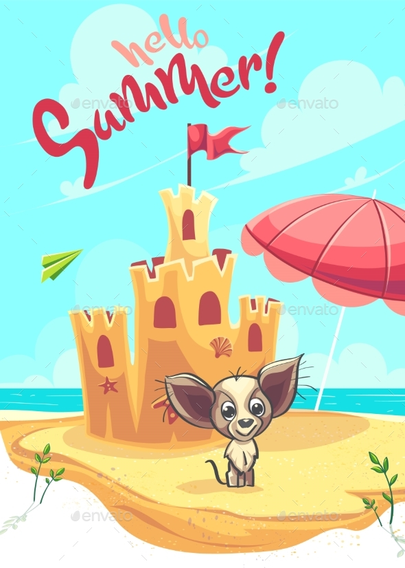 Vector Illustration Sand Castle with Cartoon Dog