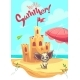 Vector Illustration Sand Castle with Cartoon Dog - GraphicRiver Item for Sale