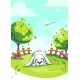Vector Illustration Rabbit on the Green Background - GraphicRiver Item for Sale