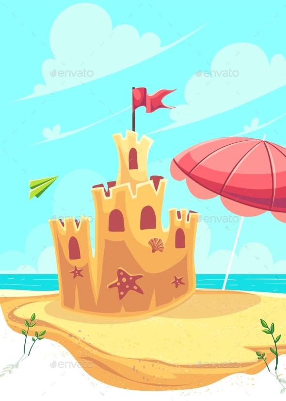Vector Bright Illustration the Cute Sand Castle