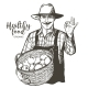 Farmer with a Hat and Mustache with Basket of - GraphicRiver Item for Sale