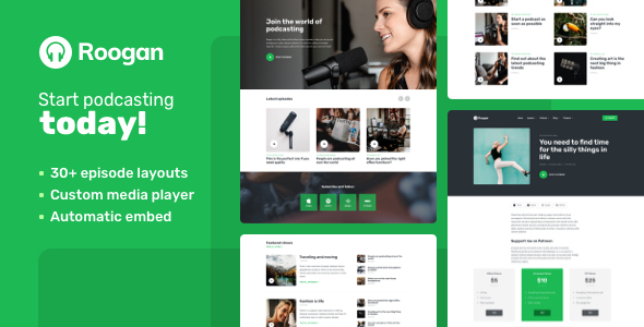 Roogan – Personal Podcast WordPress Theme