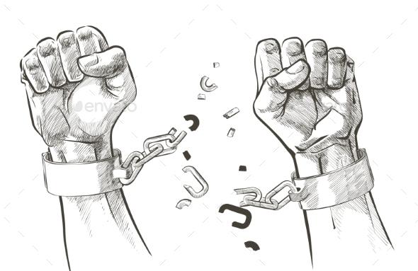 Hands Breaking Steel Shackles Chain