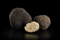 Black truffles group and slice on black, clipping path included - PhotoDune Item for Sale