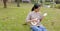 Young Woman play on ukulele at the park - PhotoDune Item for Sale