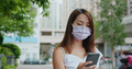 Woman wear face mask and use of mobile phone at street - PhotoDune Item for Sale