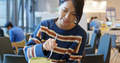 Woman enjoy her cake at coffee shop - PhotoDune Item for Sale