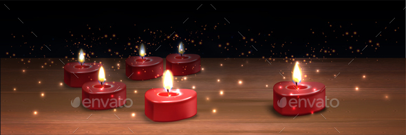 Valentine Candles Realistic Background