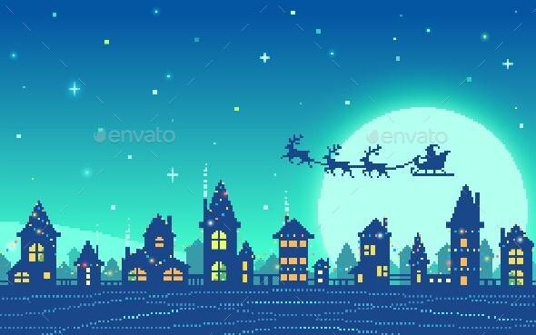Pixel Art Snowy City At Christmas Eve