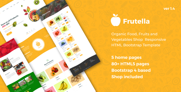 Frutella - Organic Food, Fruits and Vegetables Shop Responsive HTML Bootstrap Template