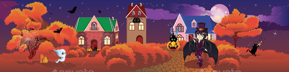 Cottage Decorated for Halloween