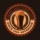 A Colorful Vintage Beer Emblem with a Glass - GraphicRiver Item for Sale