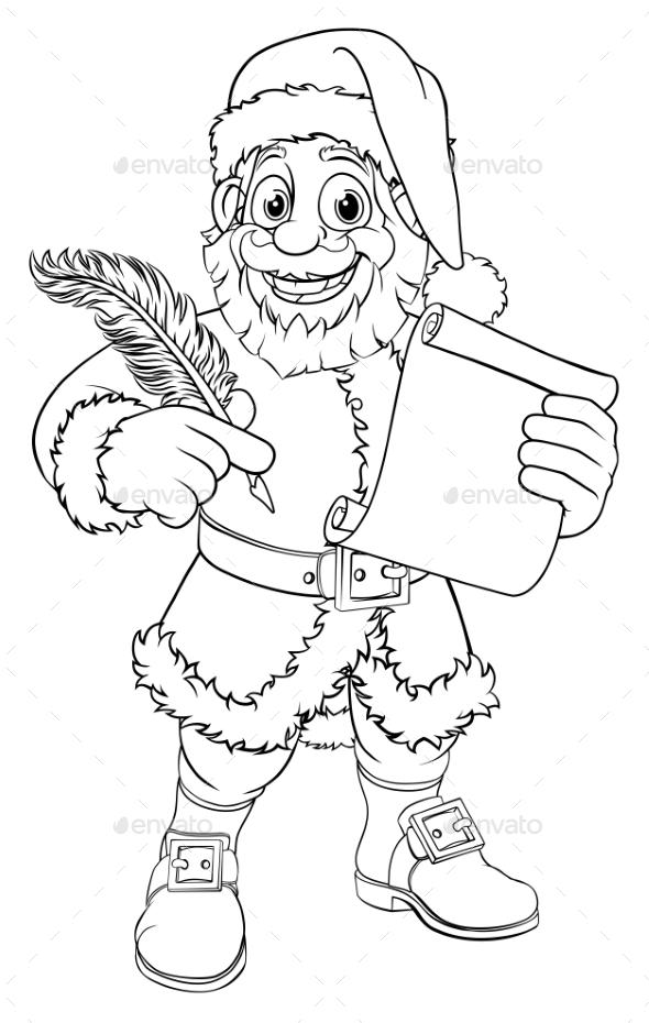 Santa Claus Black And White Outline Cartoon