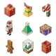 Lowpoly Christmas Polygonal Outline New Year - GraphicRiver Item for Sale