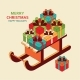 Christmas Background with Cute Isometric Santa - GraphicRiver Item for Sale