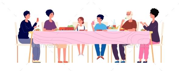 Big Dinner. Diverse Generations Eating Together