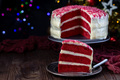 Piece of red velvet cake with cream cheese frosting - PhotoDune Item for Sale
