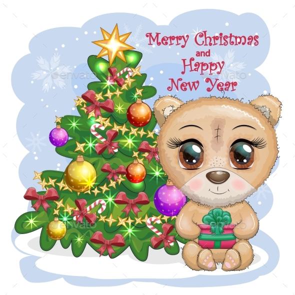 Cartoon Bear with Big Eyes and a Christmas