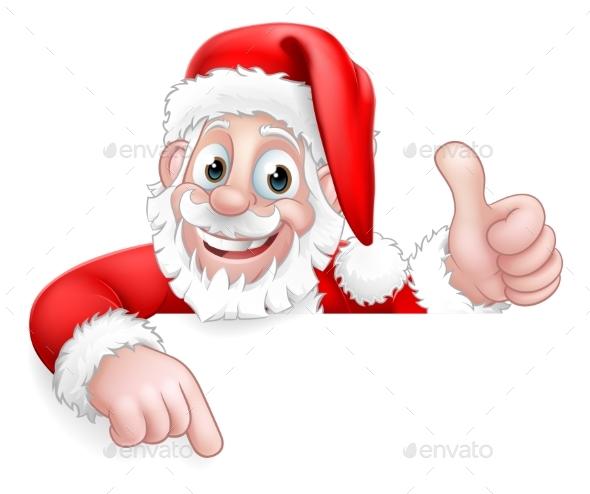 Santa Claus Christmas Peeking Pointing Cartoon