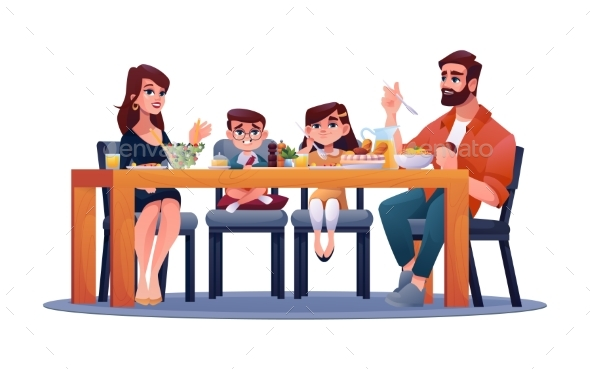 Kids and Parents at Table Enjoy Dinner Together