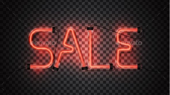Sale Glowing Red Neon Tubes on Dark Transparent