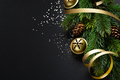 Christmas deco with fir and baubles on dark - PhotoDune Item for Sale