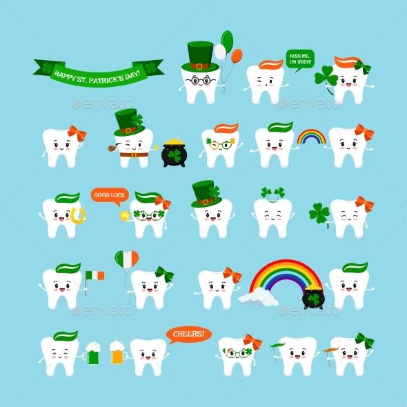 St Patrick Cute Teeth Icon Set Isolated on
