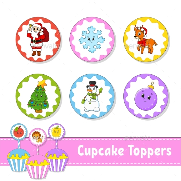 Cupcake Toppers. Set of Six Round Pictures
