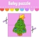 Baby Puzzle. Easy Level. Flash Cards. Cut and Play - GraphicRiver Item for Sale