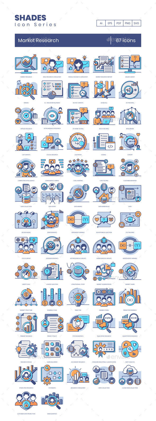 67 Market Research Icons - Shades Series