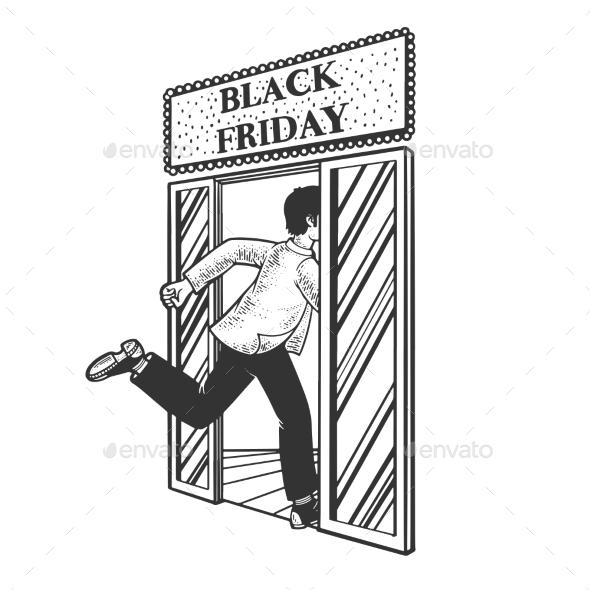 Black Friday Shopping Sketch Vector Illustration