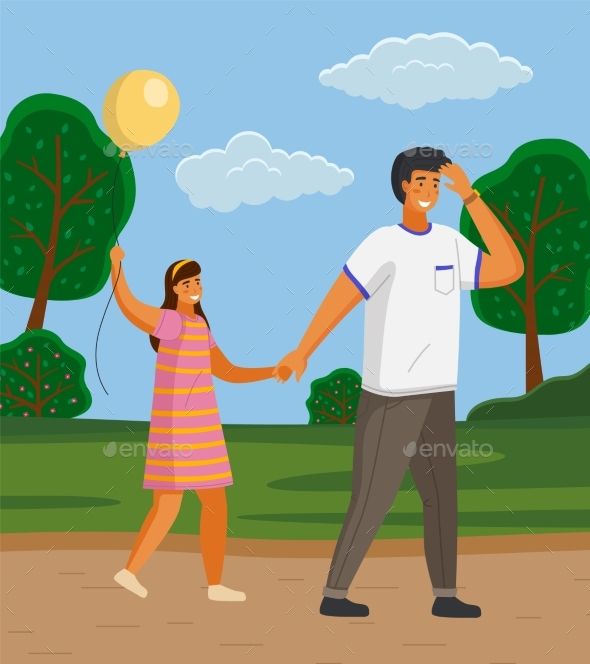 Happy Family Father and Daughter Walking in the