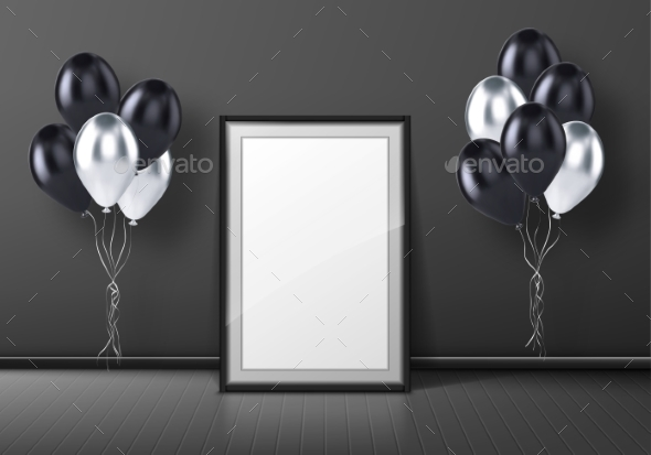 Black Photo Frame Standing on Floor and Balloons