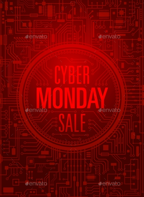 Cyber Monday Sale Vertical Red Banner