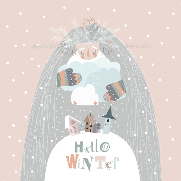 Conceptual Illustration of Mother Winter Hugging