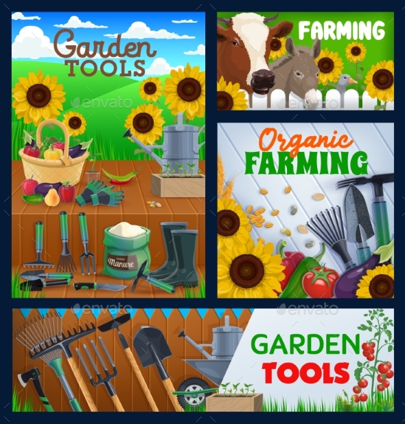 Farming and Gardening Tools, Vector Banners