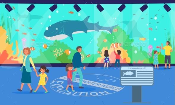 Aquarium, Vector Illustration. Family at