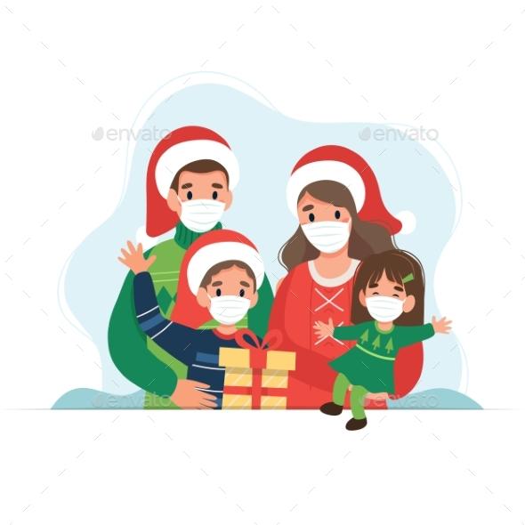 Happy Family at Christmas Wearing Medical Masks