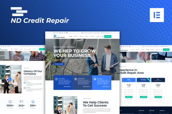 ND Credit Repair – Finance Company Elementor Template Kit, Gobase64