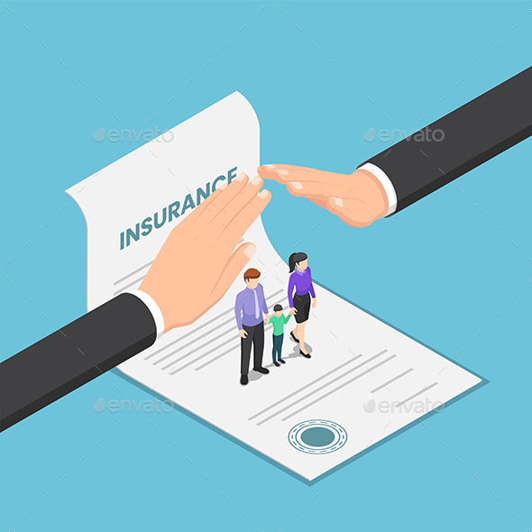 Isometric Businessman Hand Protect The Family That Standing on Insurance Document