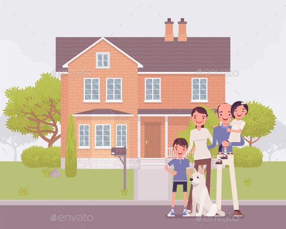 Happy Family Standing in Front of Own House