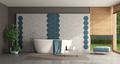 Modern bathroom with tub in front of a hexagonal tiled wall - PhotoDune Item for Sale