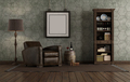Retro style living room with leather armchair and bookcase - PhotoDune Item for Sale