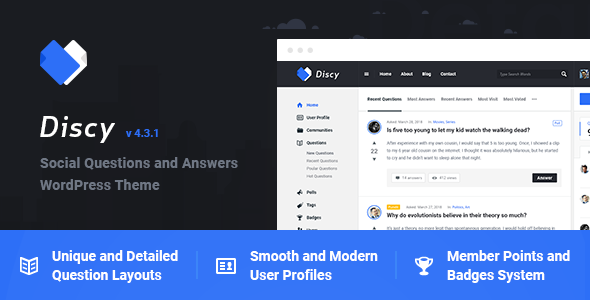 Discy – Social Questions and Answers WordPress Theme