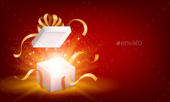Red Opened 3D Realistic Gift Box with Magical