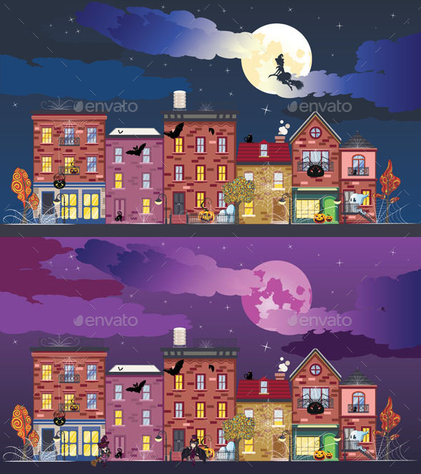 Town at Halloween Night