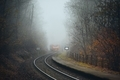 Passenger train leaving railroad station in foggy forest - PhotoDune Item for Sale