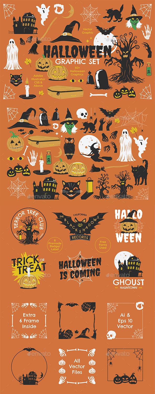Halloween Graphic Set + Badges